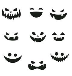 set of pumpkins smiling set of pumpkins smiling vector image