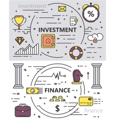 set of thin line design Investment vector image