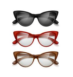 Set womens sunglasses different colors vector