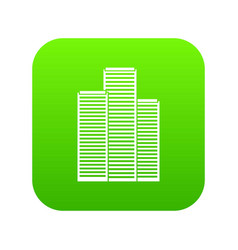 skyscrapers in singapore icon digital green vector image