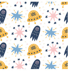 space galaxy childish seamless pattern vector image