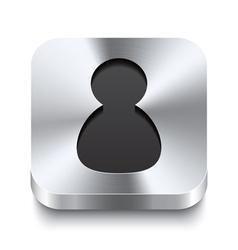 Square metal button perspektive - user icon vector