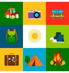 Summer travel and tourism icons vector image