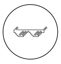 Sun glasses pixel icon black color in circle round vector