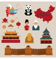 Travel to china icons vector