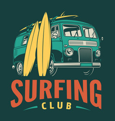 Vintage surfing club emblem vector