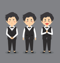 Waiter character with various expression vector