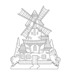 Windmill drawing coloring book for adults vector