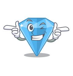 Wink sapphire gems in cartoon shape vector