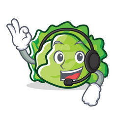 With headphone lettuce character mascot style vector