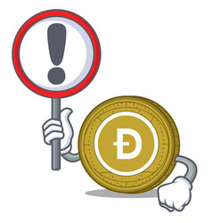 with sign dogecoin character cartoon style vector image