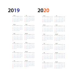 year 2019 and year 2020 calendar horizontal vector image