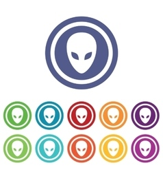 Alien signs colored set vector