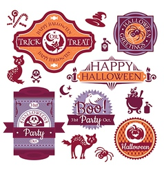 Collection of halloween labels and signs vector