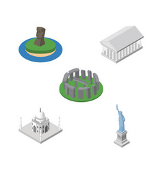 isometric attraction set of england athens chile vector image vector image