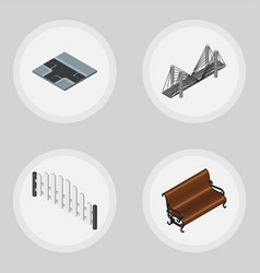 isometric urban set of sitting barricade vector image vector image