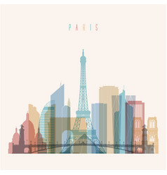 paris skyline detailed silhouette vector image vector image