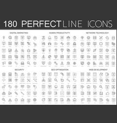 180 modern thin line icons set of digital vector image
