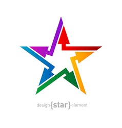 Abstract rainbow star design element with arrows vector image