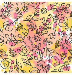 floral seamless pattern herbal tea and wild vector image vector image