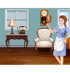Maid cleaning the house vector image vector image