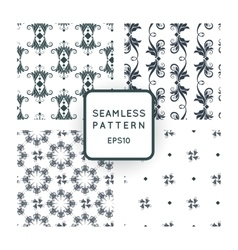 Set of seamless pattern with floral motifs vector image