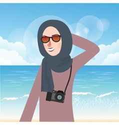 Woman wear hijab and glasses casual in beach while vector