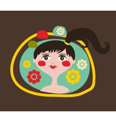 Cute portrait of the young girl with black hair vector image vector image