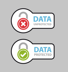 data protected unprotected safety icon symbol vector image vector image