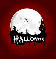 halloween poster on full moon with scary house vector image vector image