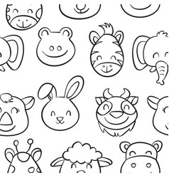 hand draw animal style pattern collection vector image