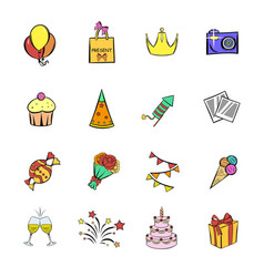 party icons set cartoon vector image