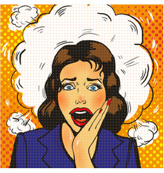 sexy surprised pop art woman with wide open eyes vector image vector image