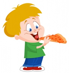 kid eating pizza vector image