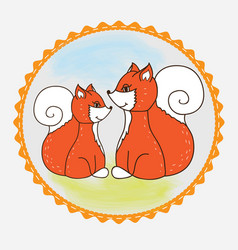 Label fox mom and baby vector