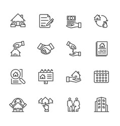 real estate of thin line icons for business vector image vector image
