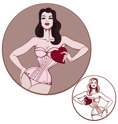young attractive woman on lingerie hold a heart vector image