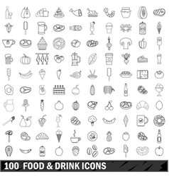 100 food and drink icons set outline style vector