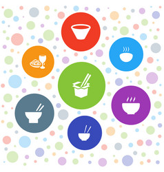 7 noodles icons vector