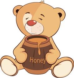 A stuffed toy bear cub and a barrel of honey vector image