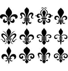 abstract fleur de lys symbol set vector image