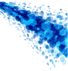 abstract geometric hexagon blue background vector image