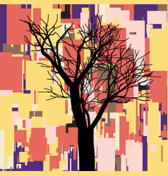Abstract square fall composition with tree vector