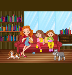 activity in family cartoon character in the vector image