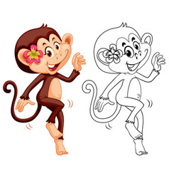 Animal outline for female monkey vector