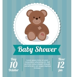 Baby Shower design teddy bear icon Blue vector image