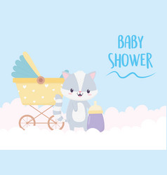 bashower raccoon cartoon decoration vector image