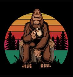 Bigfoot relaxing coffee retro vector