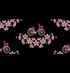 Bike and cherry blossom embroidery seamless vector