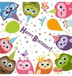 Birthday card with cute owls vector